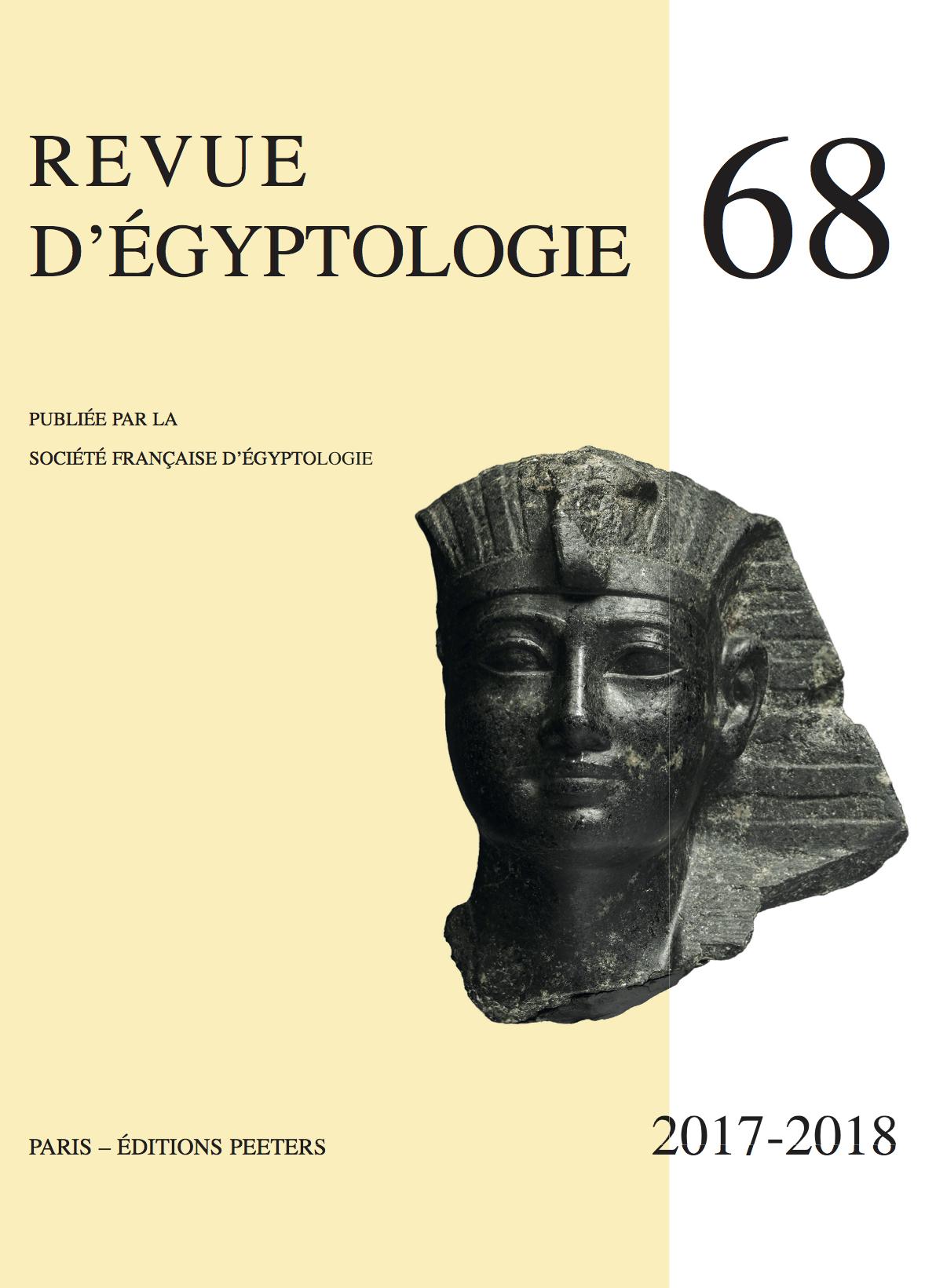 REVUE D'EGYPTOLOGIE